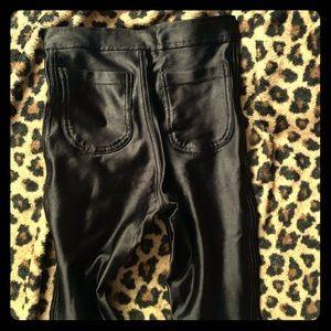 SEXY! Black Satin Super stretch Pants Size XS